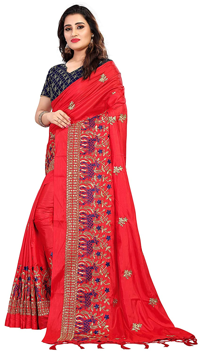35cd3343ef3249 Vaidehi Fashion Paper Silk Embroidered Saree with blouse piece(Golden-2.0)   Amazon.in  Clothing   Accessories