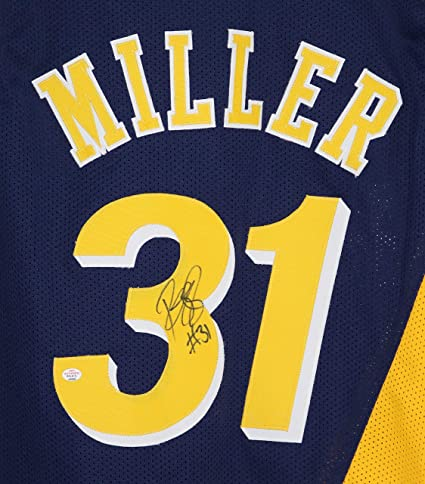 822b36ff5bf3 Reggie Miller Indiana Pacers Signed Autographed Navy and Gold Throwback  31  Custom Jersey PAAS COA