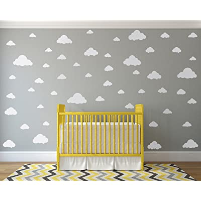 White Clouds Sky Wall Decals - Easy Peel + Stick 50 Clouds Pack - Kids Playroom Nursery Sky for Baby Boy or Girl - Vinyl Sticker Art Large Decoration Graphic Decor Mural: Home & Kitchen