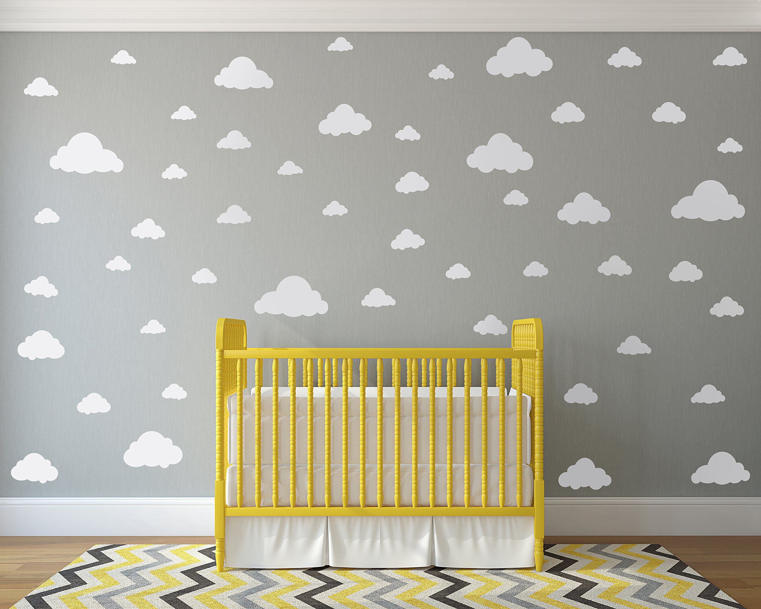 White Clouds Sky Wall Decals - Easy Peel + Stick 50 Clouds Pack ...
