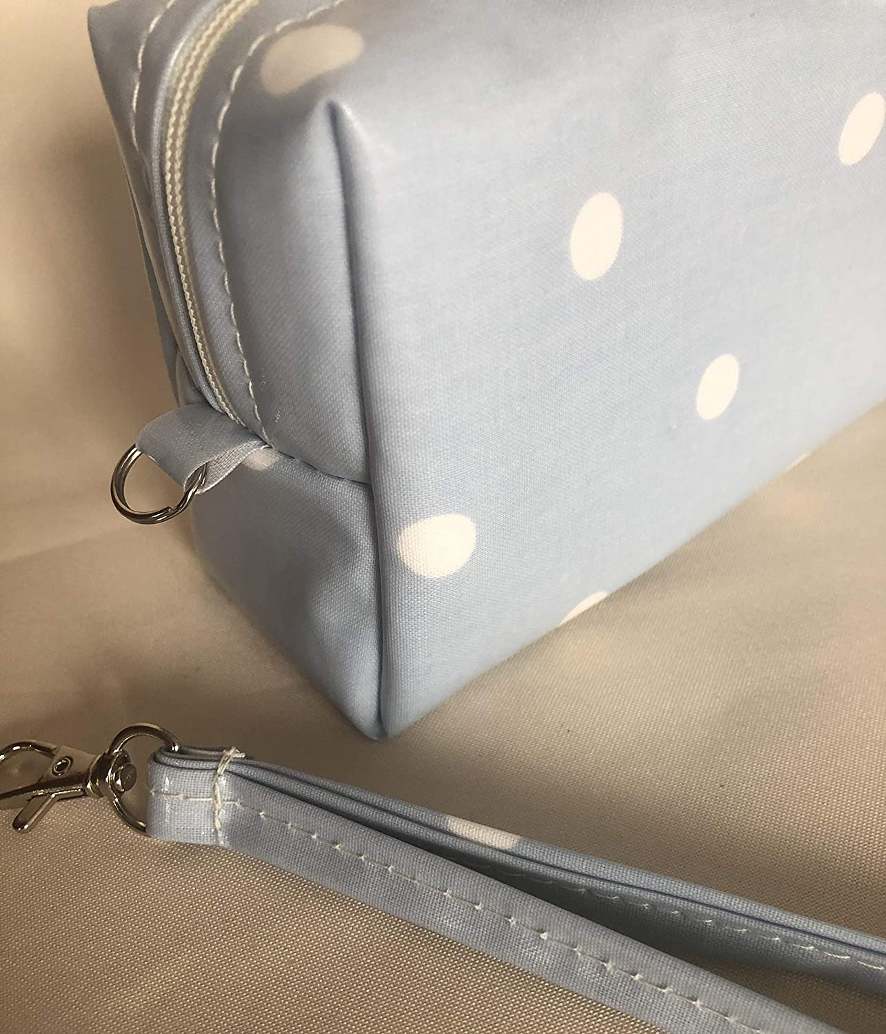 insulated medical travel bag Insulated diabetic supply bag EpiPen case baby blue spotty oilcloth,insulated snack pouch.