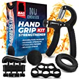 Grip Strength Trainer Kit (5 Piece Set), Hand Grip Strengthener Kit, Hand Strengthener & Grip Strength Kit - Hand Exerciser G