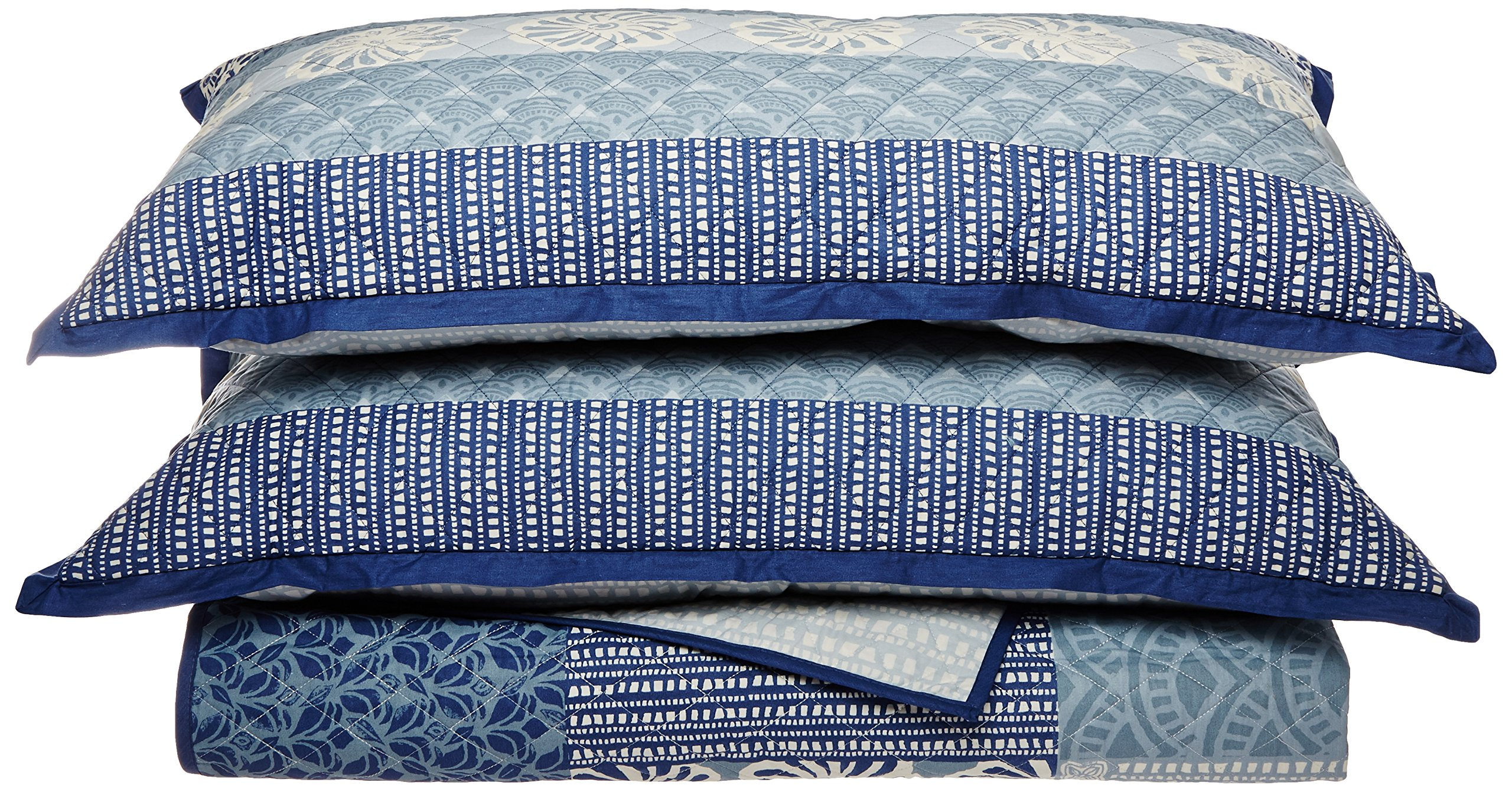 KD Spain Horizon Quilt Sham Set, Blue, King by KD Spain