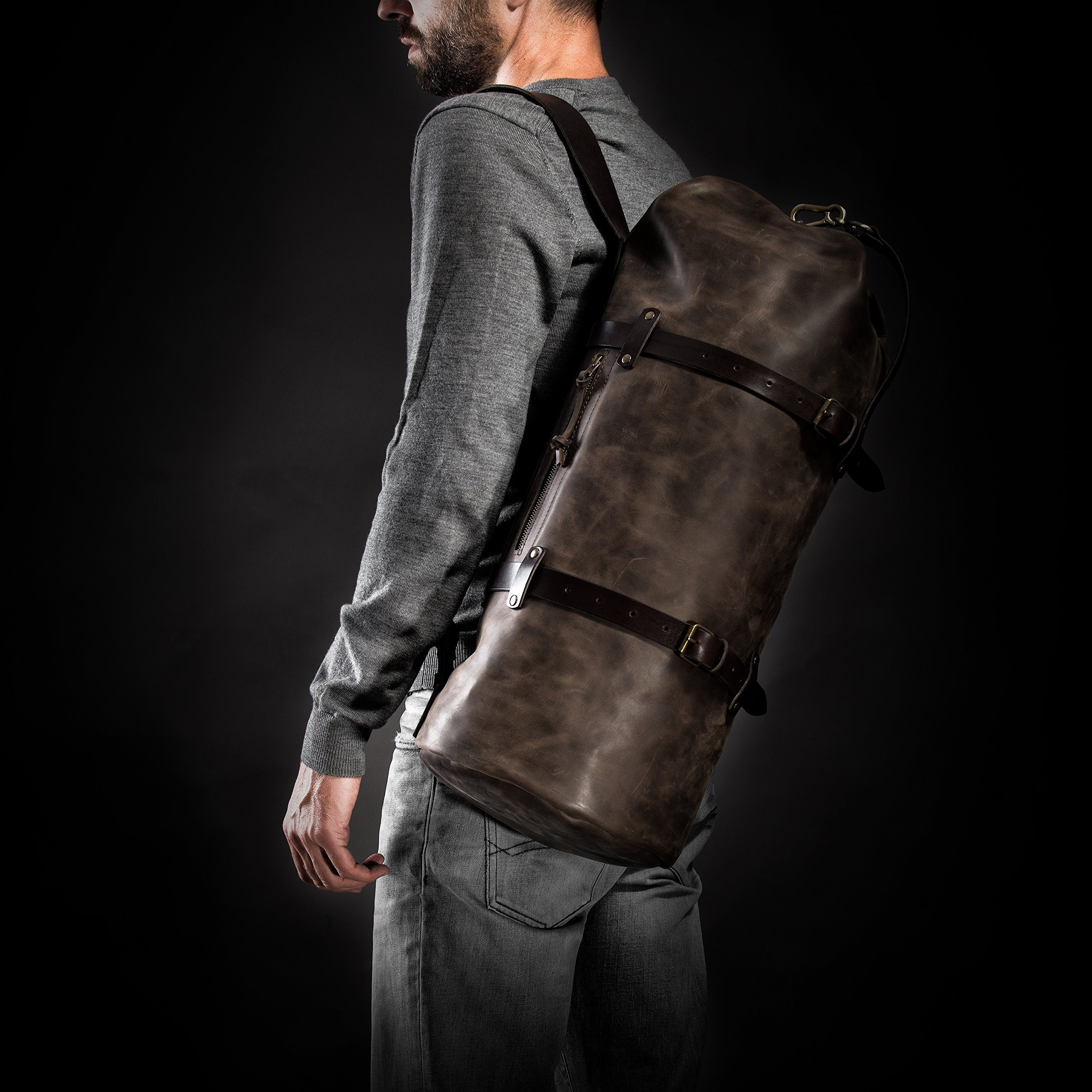 Duffel Pack by Kruk Garage Duffel bag Travel bag Leather men's bag Brown Leather duffle bag Weekender Men's gift Christmas gift Luggage