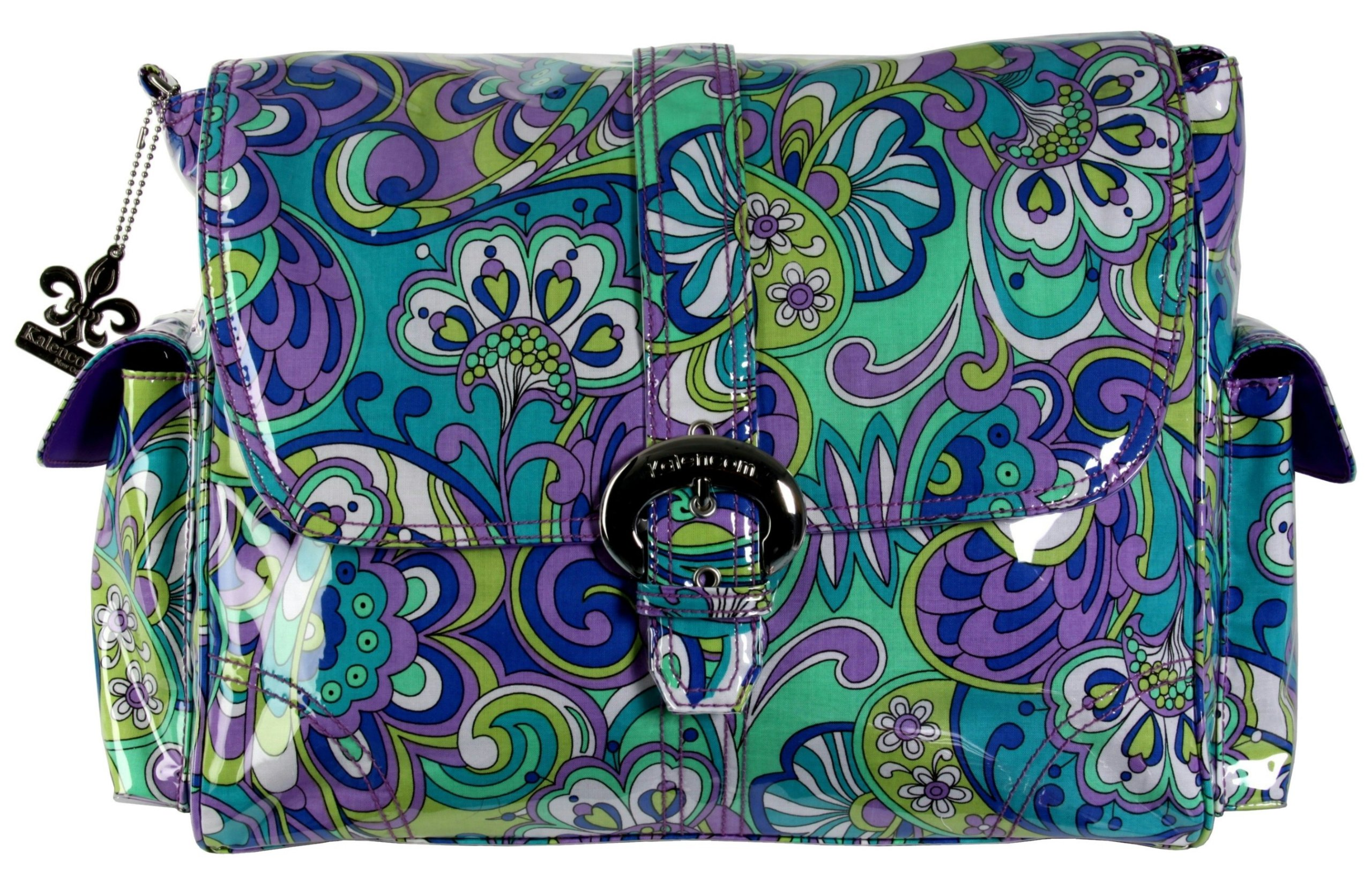 Kalencom Laminated Buckle Bag, Russian Floral Blue