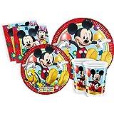 Ciao y2495–Kit Party Fiesta de tabla Mickey Mouse Club House Para 24Personas (112piezas color 24platos grandes, 24platos Medi, 24vasos, 40servilletas)