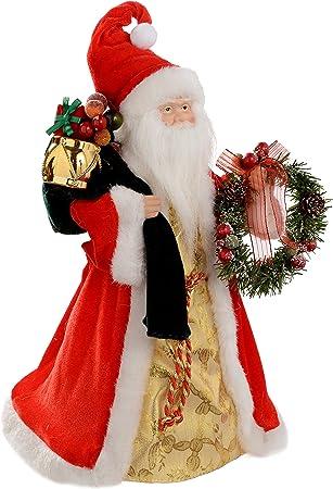 Babbo Natale 40 Cm.Werchristmas Puntale Per Albero Di Natale A Forma Di Babbo Natale 40 Cm Rosso Oro Amazon It Casa E Cucina