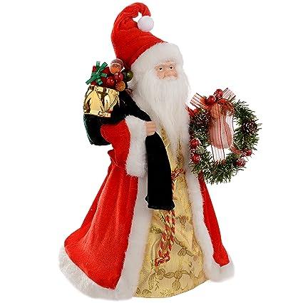 Babbo Natale 40 Cm.Werchristmas Puntale Per Albero Di Natale A Forma Di Babbo Natale 40 Cm Rosso Oro