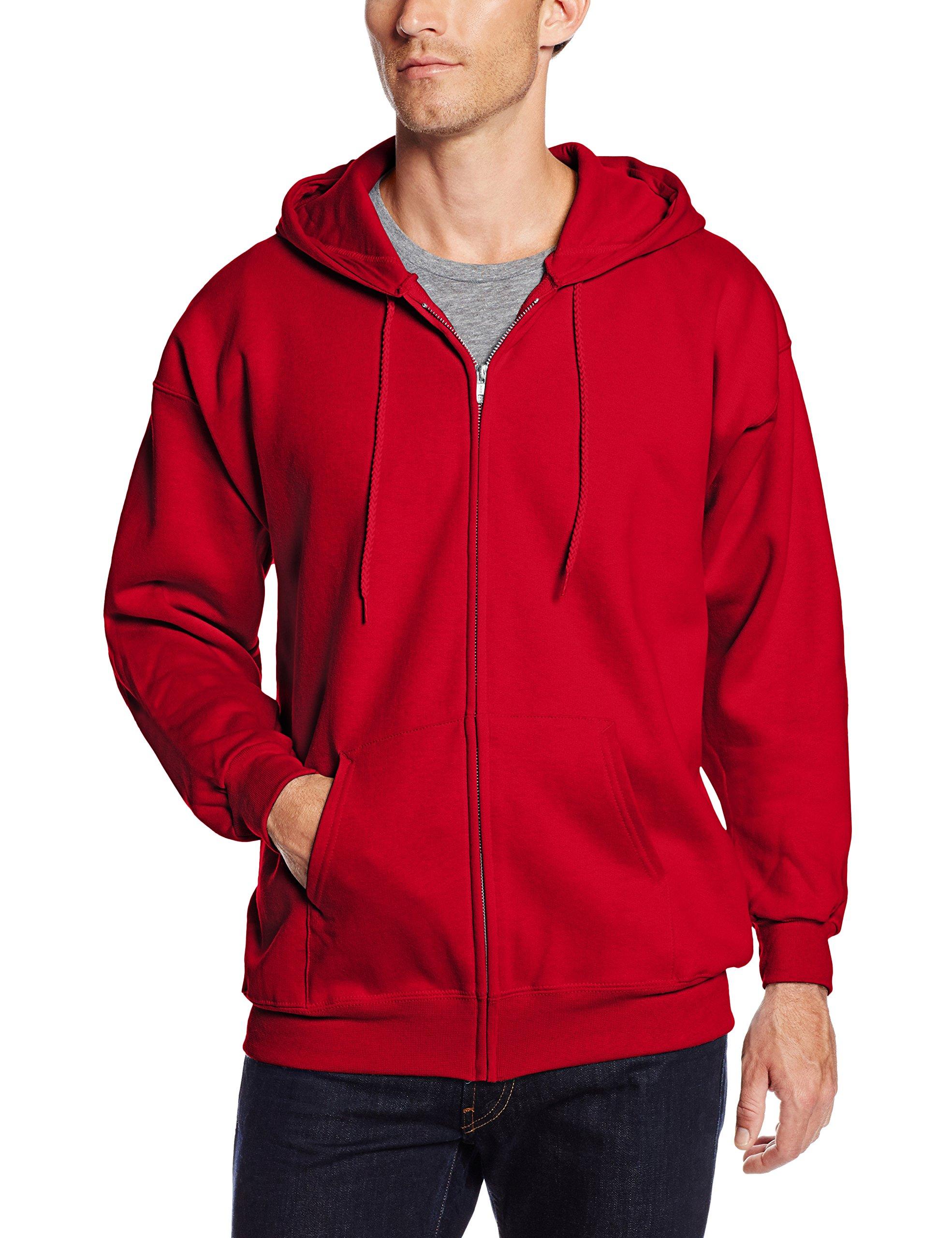 Hanes Men's Full Zip Ultimate Heavyweight Fleece Hoodie, Deep Red, Medium