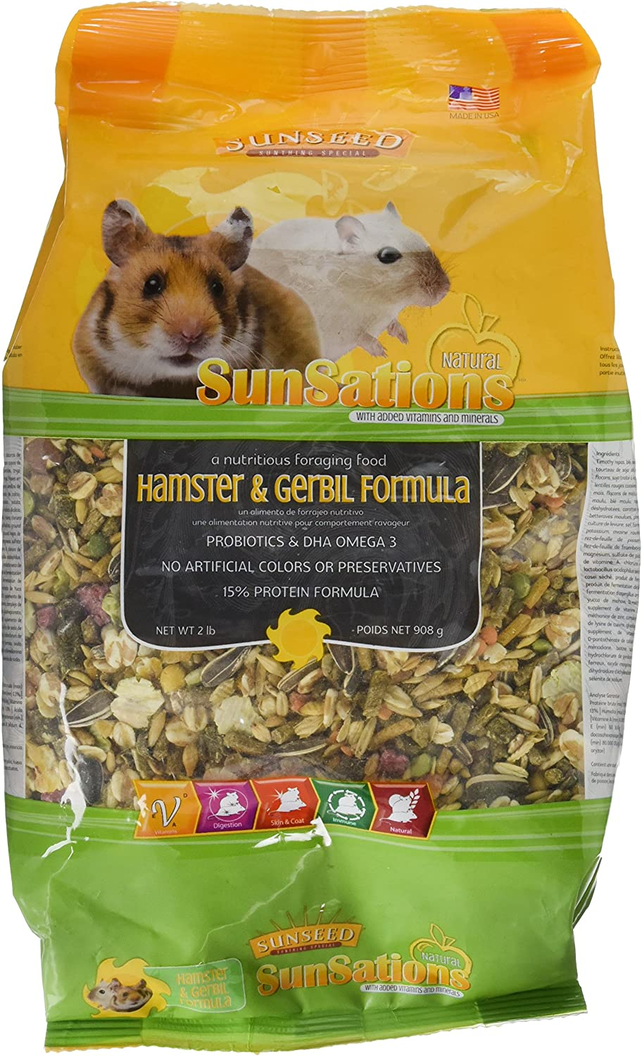 Sunseed Company 36058 1 Piece Sunsations Natural Hamster/Gerbil Formula Food Treat, 2 Lb