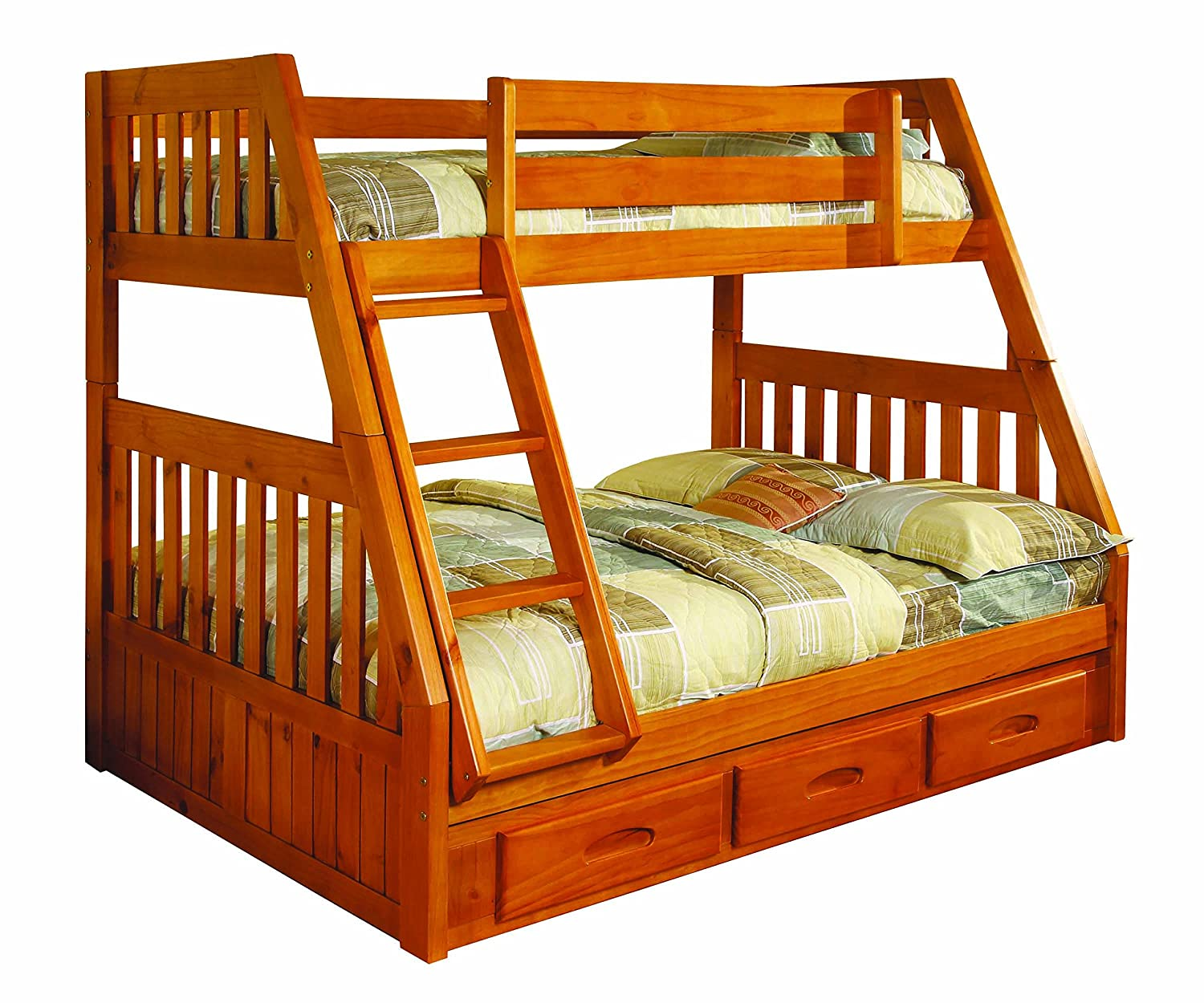 Amazoncom Discovery World Furniture Twin over Full Bunk Bed with 3