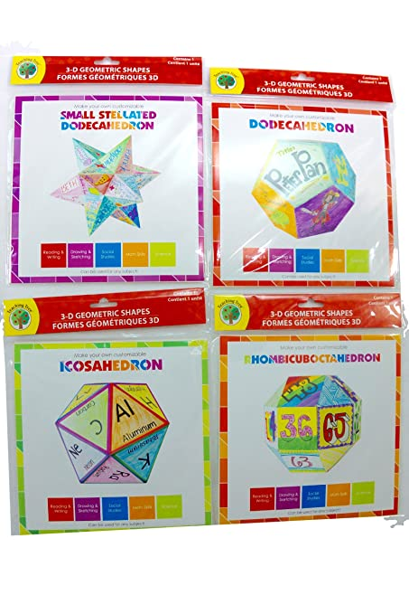 Set of 4- Three Dimesional Geometric Shape Kits (Icosahedron, Dodecahedron,  Rhombicuboctahedron, Small Stellated Dodecahedron by Teaching Tree