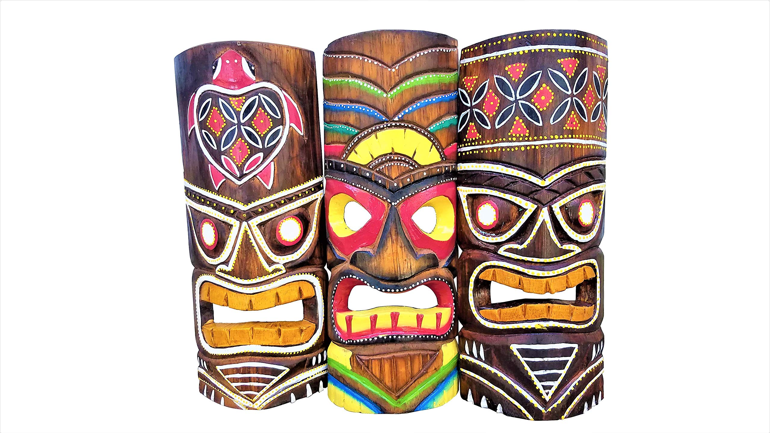 """Set of (3) Vibrant Painted Surf Style Wooden Handcarved 12"""" Tall Tiki Masks Tropical Wall Decor!"""