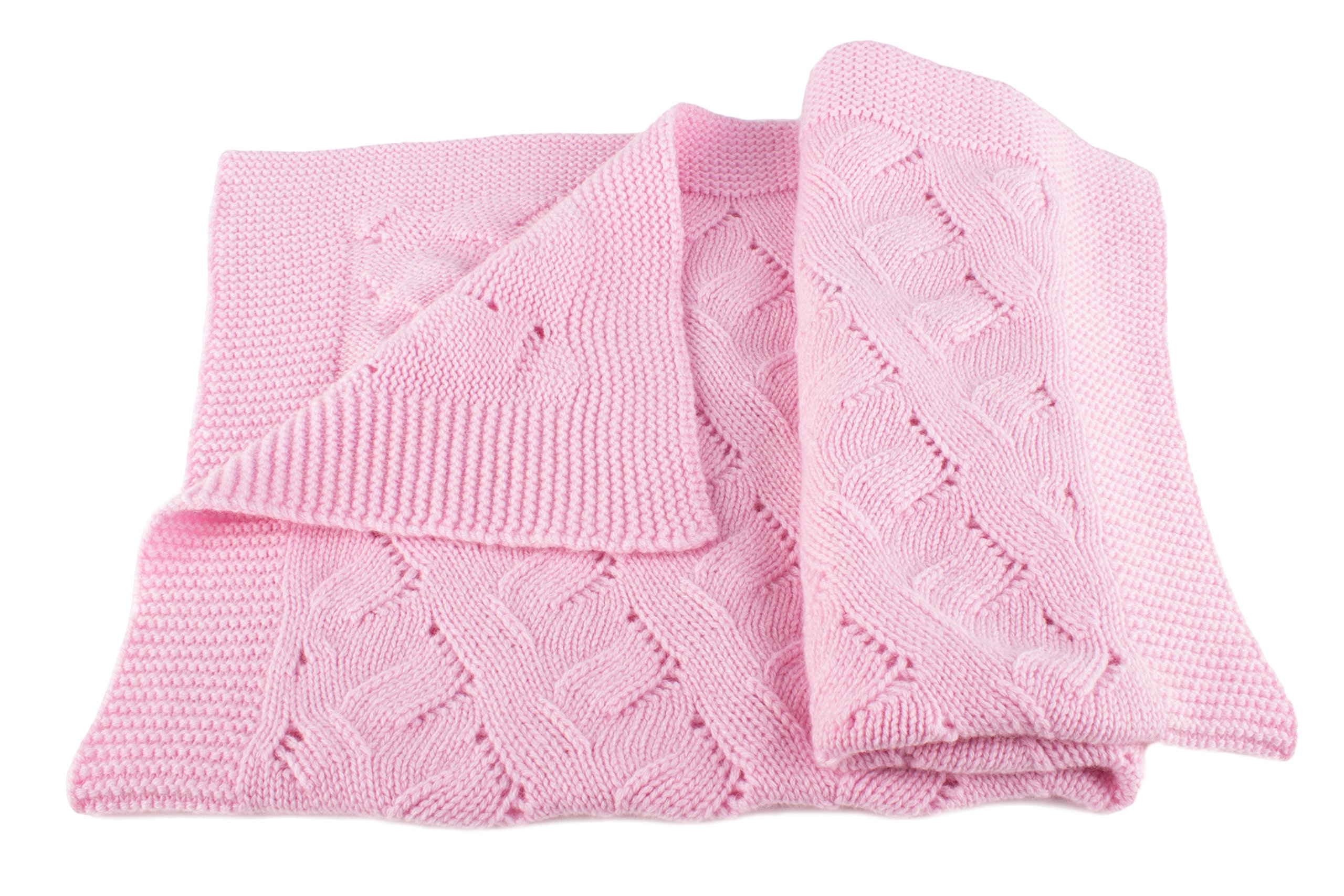 Girls Luxury 100% Cashmere Baby Blanket - 'Baby Pink' - hand made in Scotland by Love Cashmere - RRP $300