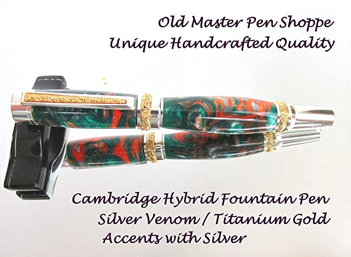 Handmade Silver Venom Cambridge Hybrid Fountain Pen With Titanium Gold Accents and Silver Plating