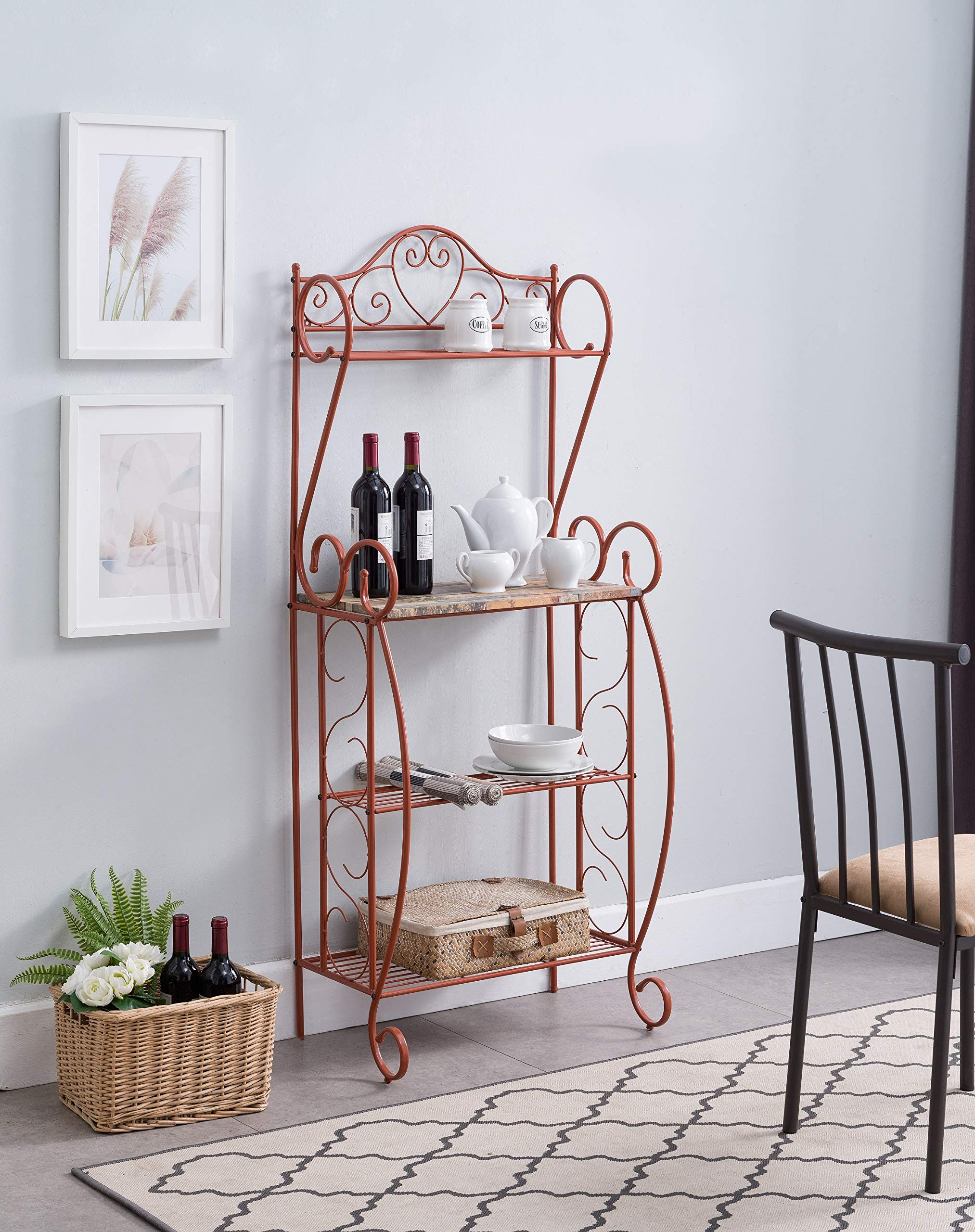Kings Brand Furniture - Sparta Metal Kitchen Storage Bakers Rack, Orange by Kings Brand Furniture