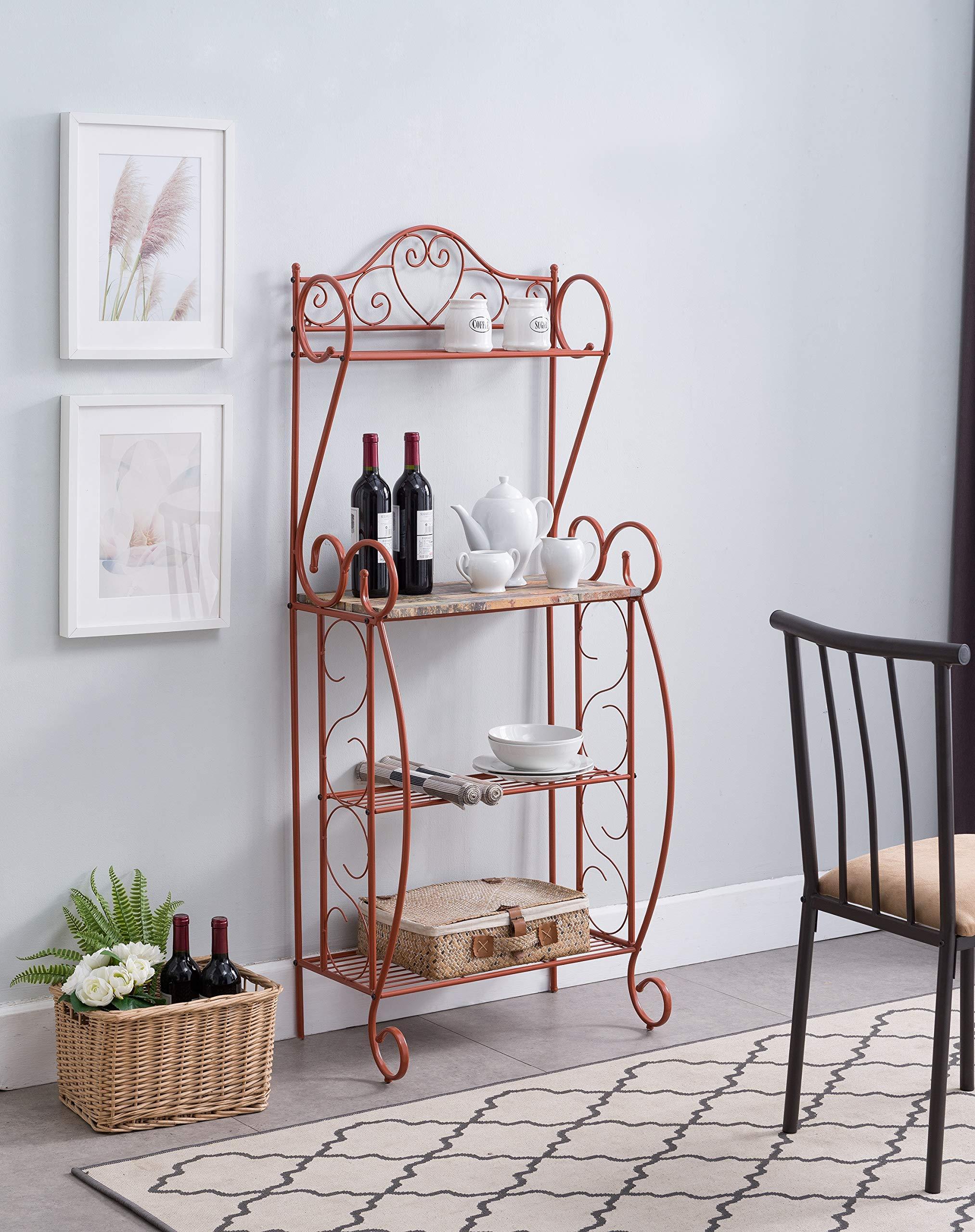 Kings Brand Furniture - Sparta Metal Kitchen Storage Bakers Rack, Orange