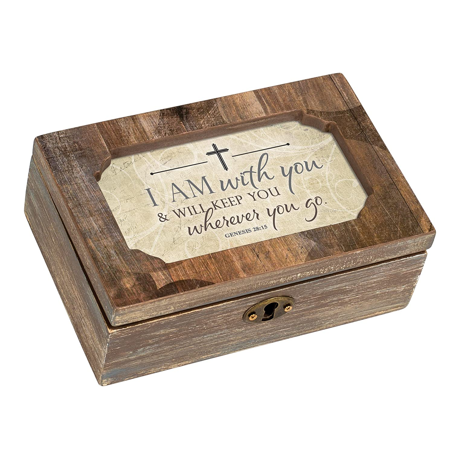 Cottage Garden with You Wherever You Go Woodgrain Decoupage Petite Music Box Plays How Great Thou Art