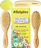 BabyLinos 4 Piece Wooden Baby Hair Brush Set with comb and Ultra Soft Silicone Scalp Shampoo Brush for Newborns and Toddlers, Natural Goat Bristles for Cradle Cap, Perfect for Baby Registry (Yellow)