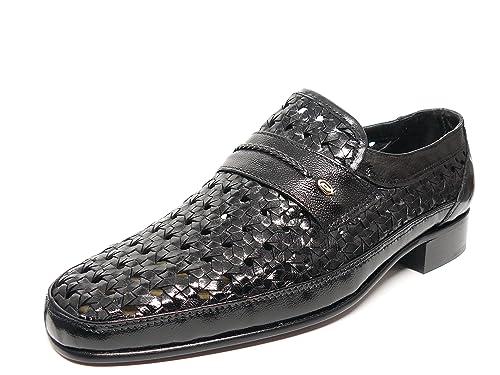 Cabra Mocasin Zapato Negro De Vestir Marca Trenzado En Hombre Piel OOvE0wqU