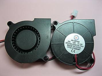 2 pcs Brushless DC Blower Fan 5015S 12V 2 Wires 50x50x15mm Sleeve-bearing Skywalking : dc brushless fan wiring - yogabreezes.com