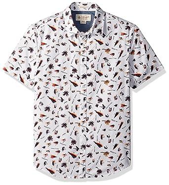 72a1f0ef Original Penguin Men's Short Sleeve Fisherman Print Woven Shirt, Bright  White Medium