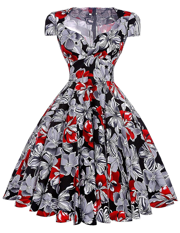 Yafex Damen Vintage Retro Kleid 50er Festliche Kleid Partykleid Sommerkleid ZYB000001
