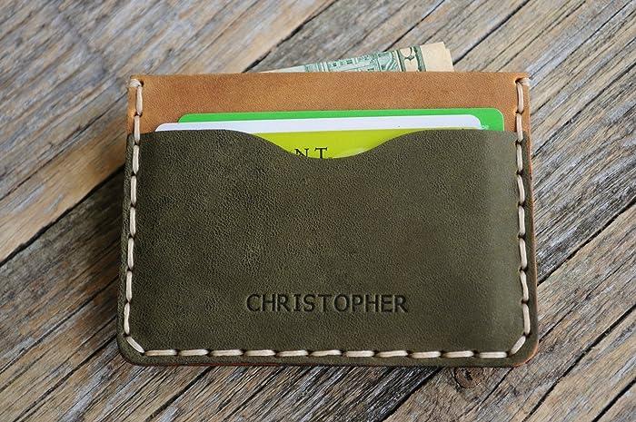 Verde y marrón cartera de piel PERSONALIZADA. Apta para Tarjeta de Crédito, Efectivo o