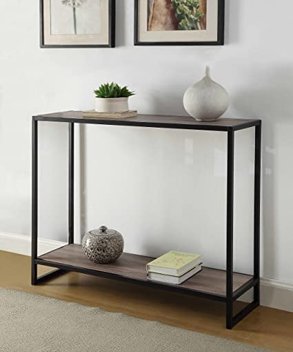 Weathered Grey Oak Finish Black Metal Frame 2 Tier Console Sofa Table