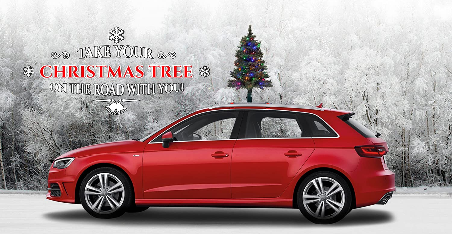 Amazon Com The Car Top Christmas Tree The Only Christmas Tree For Your Car Van Or Truck Quick And Easy Installation Colored Led Lights Safe Secure Folds