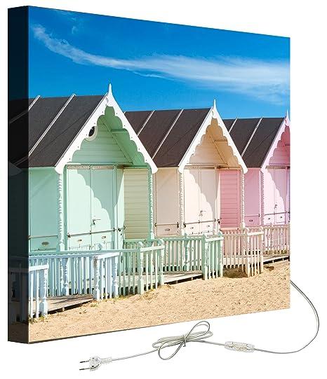 Decoralive Casetas Playa - Cuadro retroiluminado, 50 x 50 x 5 cm