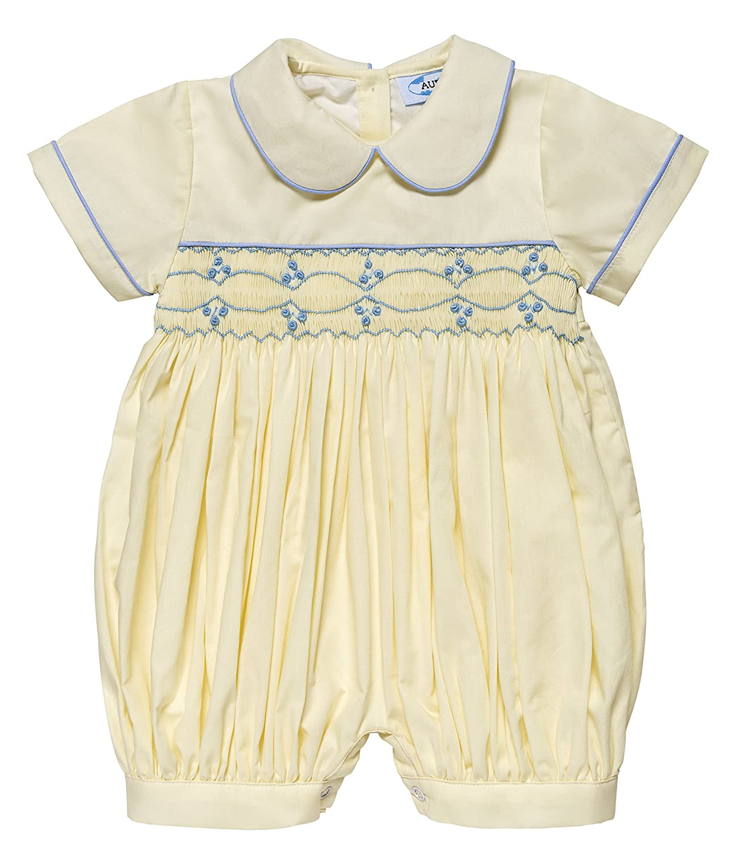 1fe548bda AURORA ROYAL Baby Boy Classic Duke Hand Smocked Cream Romper- 6 Months:  Amazon.co.uk: Clothing