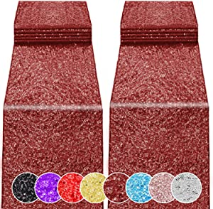 2 Pack 12 x 108 inches Sequin Table Runner for Birthday Wedding Bridal Shower Baby Shower Bachelorette Holiday Celebration Party Decorations Tables Supplies (2, Burgundy)