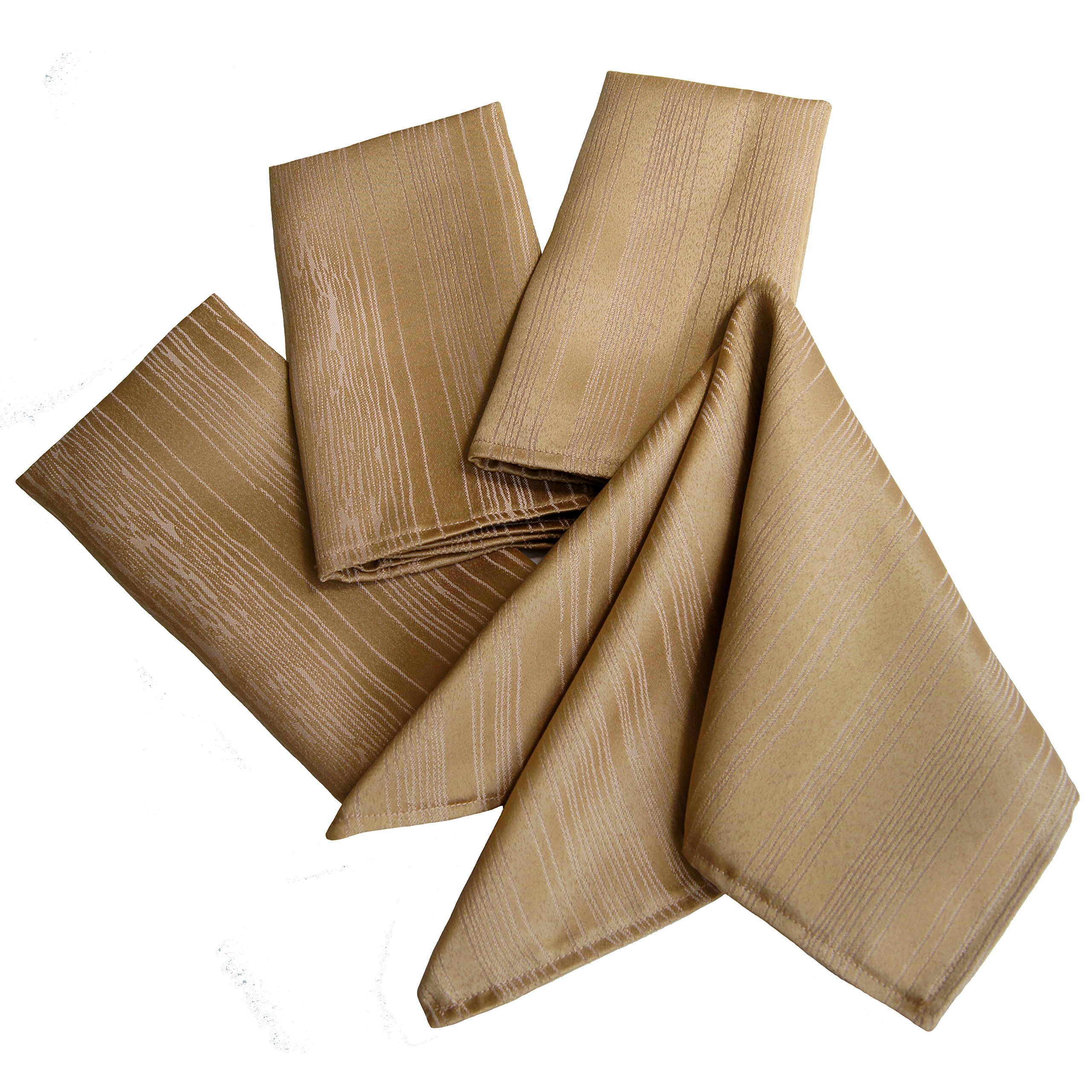 Benson Mills Flow Spill Proof Fabric Napkins (Set of 4), 18''x 18'', Taupe/Gold
