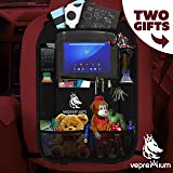 Car Backseat Organizer by Vepremium: Premium Quality, Multipocketed, Durable Storage Bag With Built-in iPad / Tablet / DVD Holder – Comes With A Side Seat Organizer & Two Backseat Headrest Hooks
