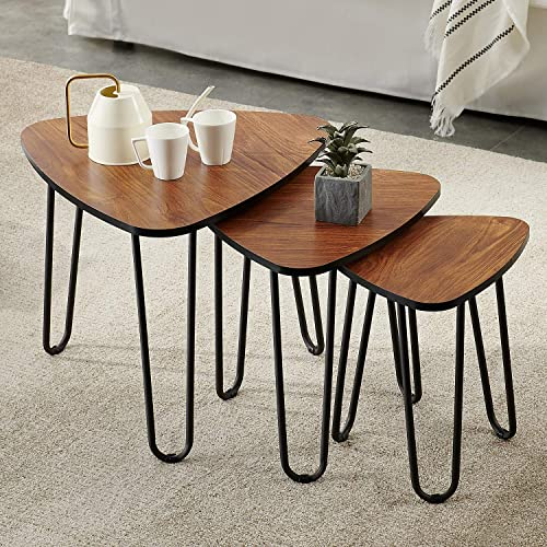 Itaar Industrial Nesting Coffee Table Set of 2, Round End Side Table for Living Room Balcony Home and Office, Sturdy and Easy Assembly, Wood Finish with Metal Frame Brown