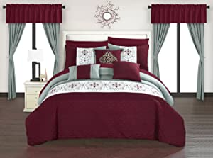 Chic Home Emily 20 Piece Comforter Set Color Block Floral Embroidered Bag Bedding, Queen, Burgundy