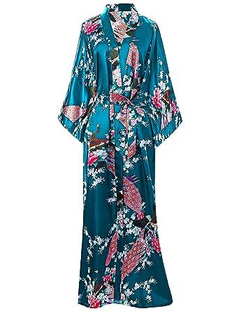 BABEYOND Kimono de Seda Vestido de Satén Kimono Pavo Real Novia ...