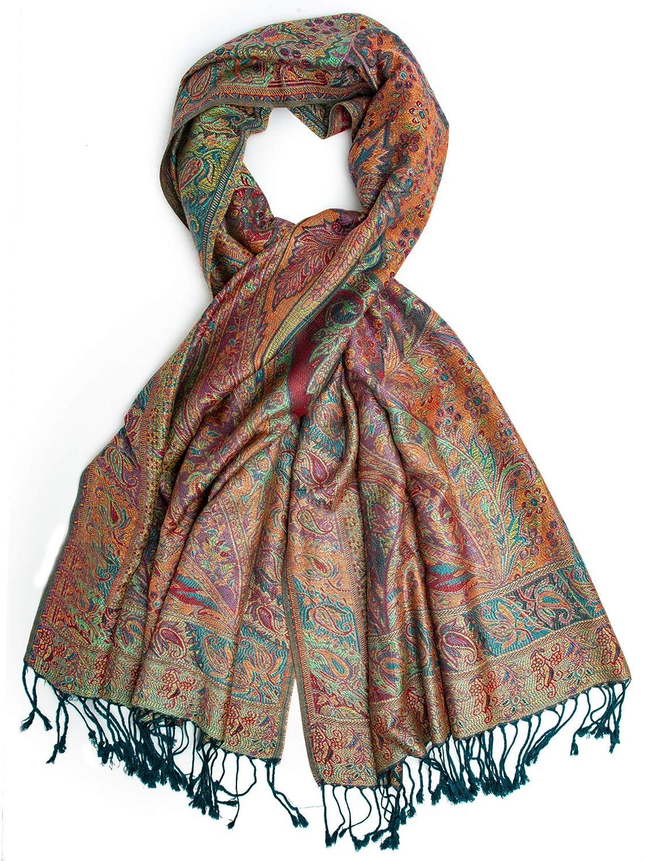 prezzo competitivo a601a 76f9b Bohomonde,Tiaja Scarf, Silk and Pashmina Indian Paisley Traditional Shawl  or Scarf