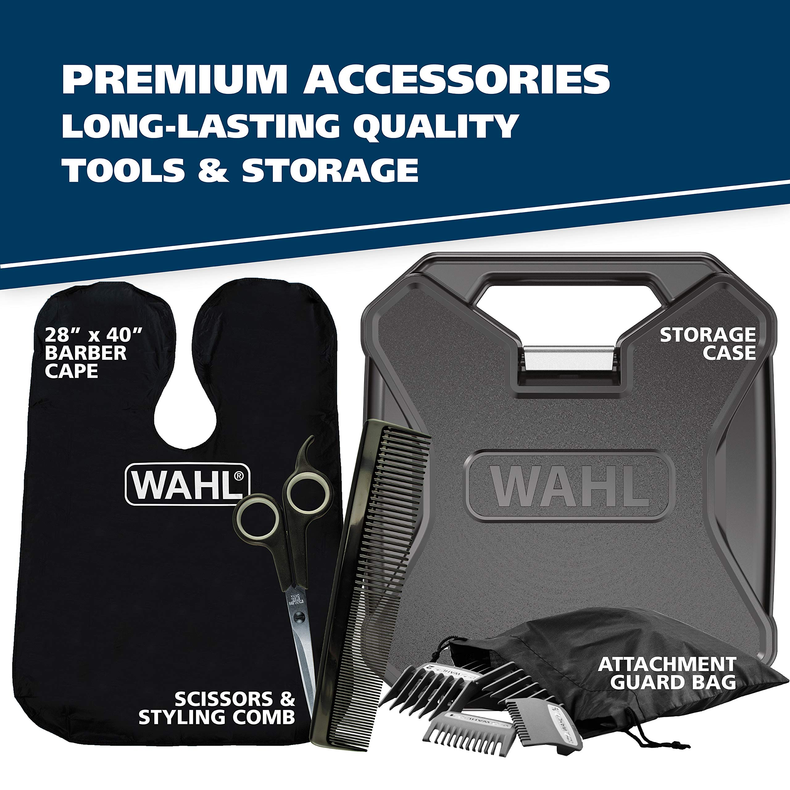 Wahl Clipper Elite Pro High Performance Haircut Kit for men, includes Electric Hair Clippers, secure fit guide combs with stainless steel clips - By The Brand used by Professionals #79602 by WAHL (Image #6)
