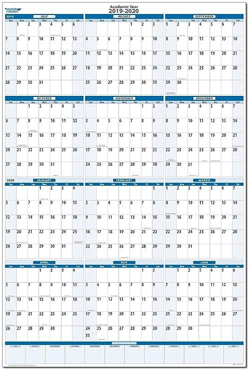 Calendar 2020.Academic Dry And Wet Erasable Wall Calendars By Planetsafe Calendars 2019 2020 Sky Blue Vertical 24 X 36