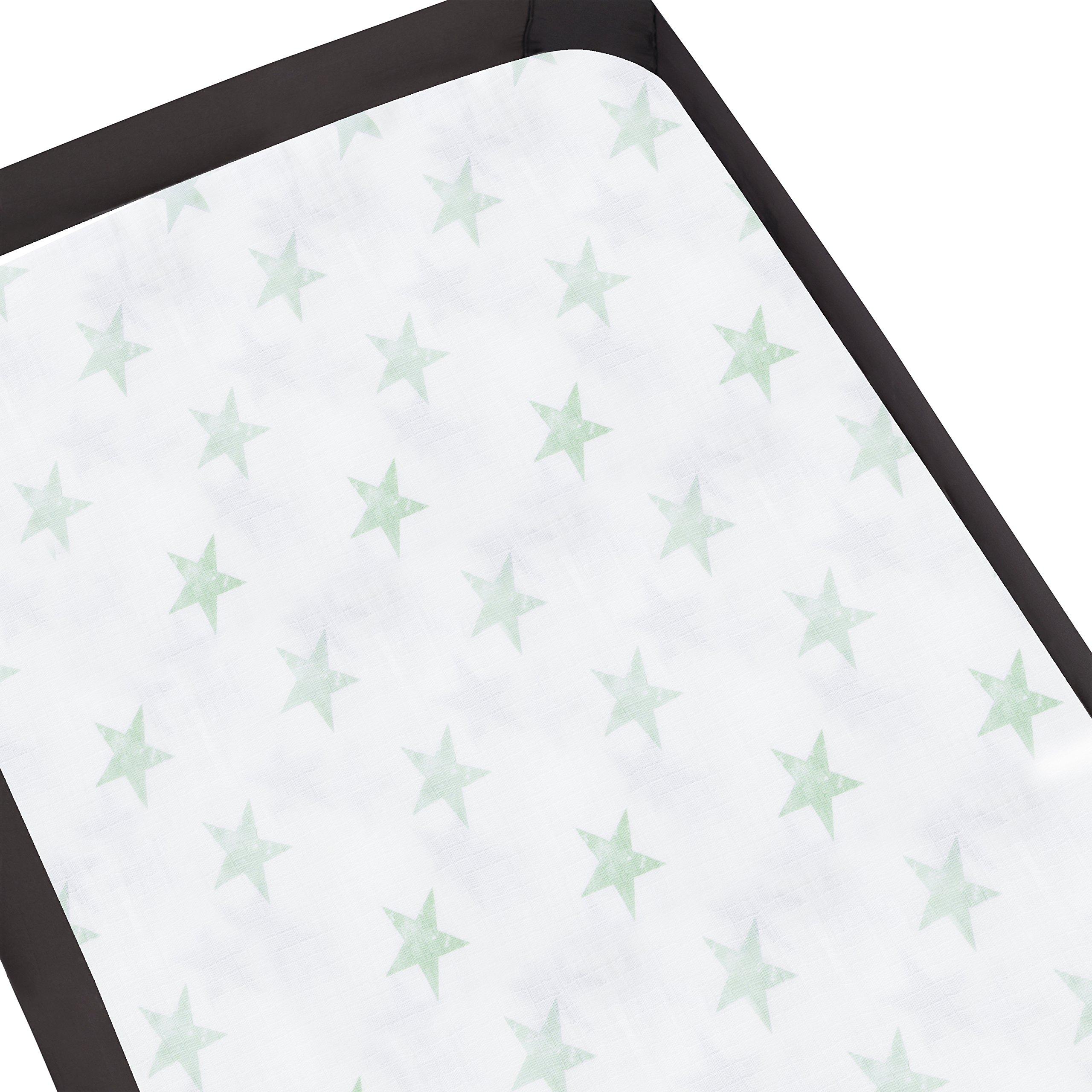 aden by aden + anais Pack 'n Play Playard Crib Sheet, 100% Cotton Muslin, Super Soft, Breathable, Snug Fit Dream - Stars