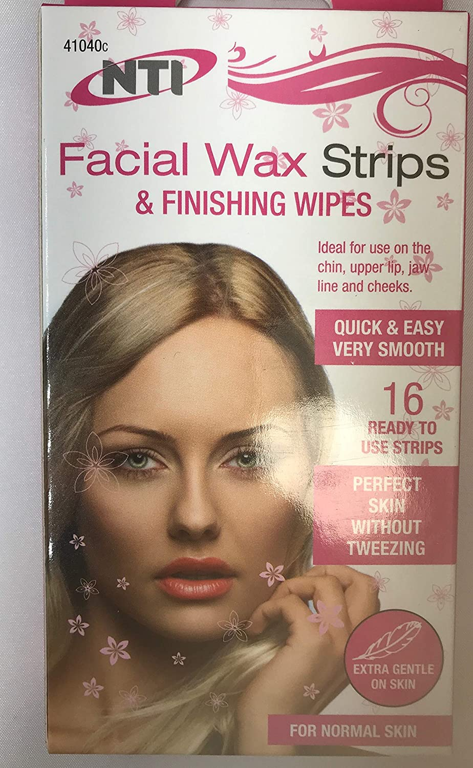 Facial WAXING Strips Wax Strips & Finishing Wipes Naturals for Normal Skin Great for Chin Upper Lip JAW LINE and Cheeks Very Smooth - Pack of 16 NTI