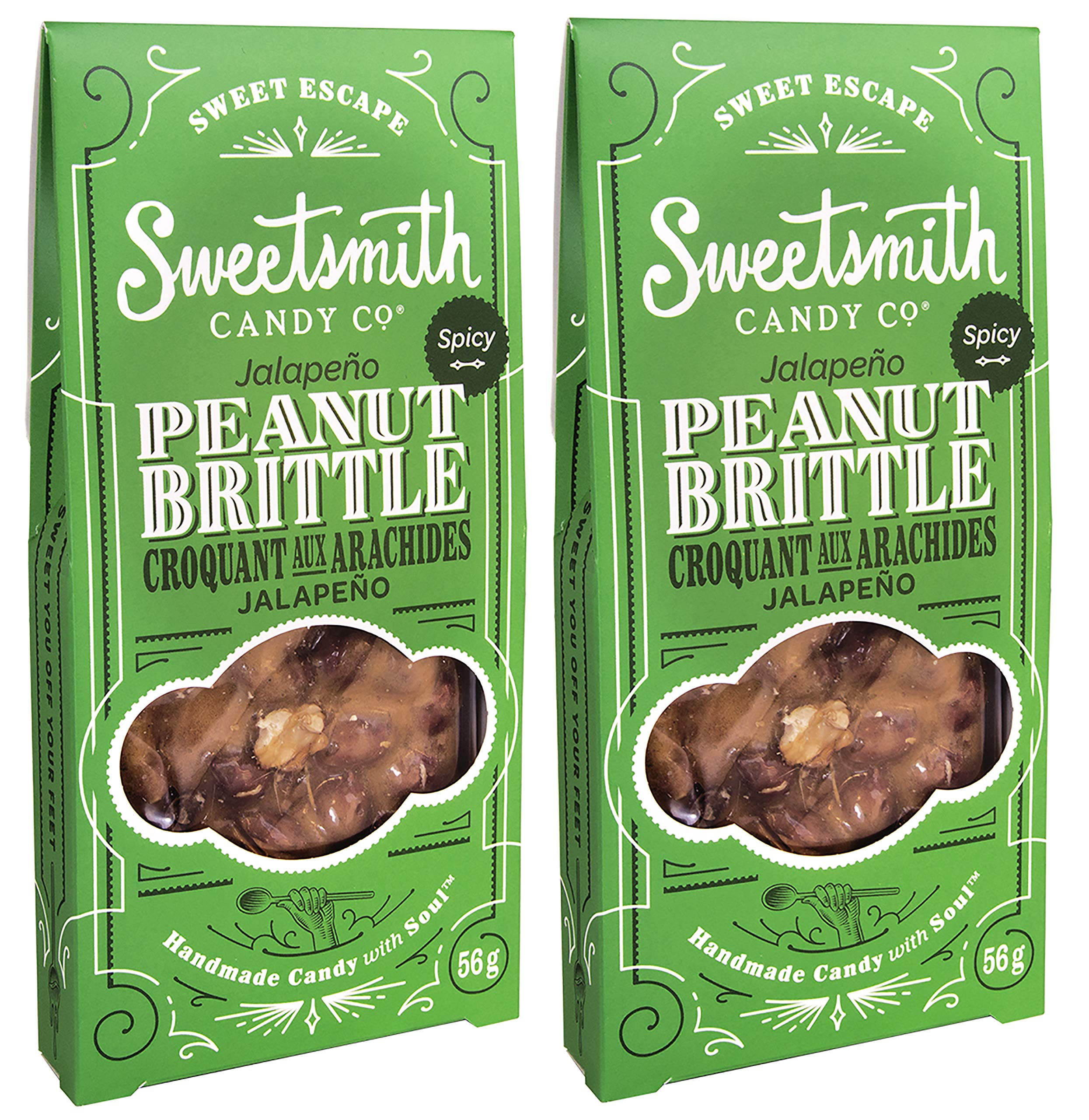 Sweetsmith Candy Co. Jalapeno Peanut Brittle - Handmade, Gluten-Free, Egg-Free, Soy-Free, Vegan and Dairy-Free (Jalapeno, 2 Pack) by Sweetsmith Candy Co.