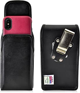 product image for Turtleback Belt Case Compatible with iPhone 11 Pro, XS & X w/OB Commuter Symmetry case Black Vertical Holster Leather Pouch with Heavy Duty Rotating Ratcheting Belt Clip Made in USA
