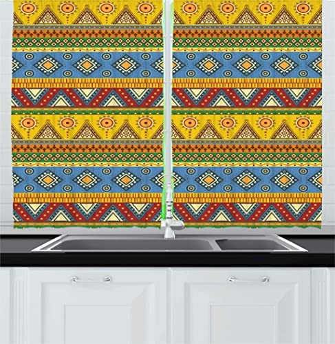 Ambesonne Aztec Kitchen Curtains, Traditional Classic Tribal Style Folk Motif Sun Mexican Culture Image, Window Drapes 2 Panel Set for Kitchen Cafe Decor, 55 X 39 , Orange Yellow