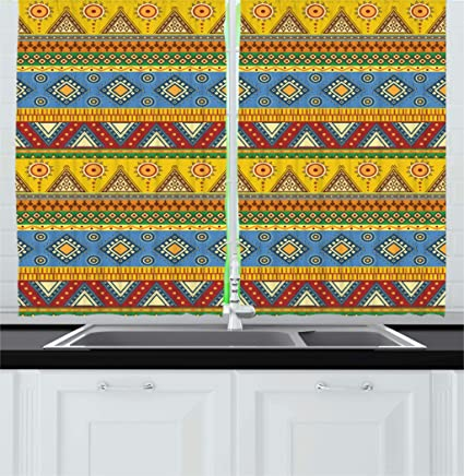Amazoncom Ambesonne Aztec Kitchen Curtains Traditional Classic