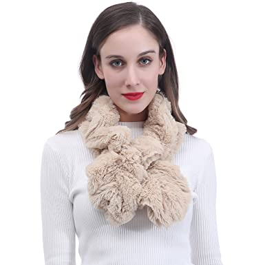 c86f5988512a Lina   Lily Écharpe Foulard pour Femme Twist Extensible Faux Fourrure  (Beige)