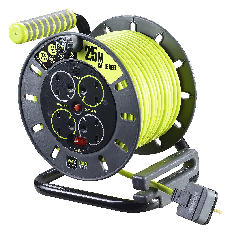 Masterplug OMU25134SL-PX - Avvolgicavo elettrico a 4 prese, 25 m 25 m con 2 USB Nero OMU25132USL-PX