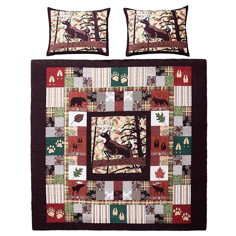 3pc Brown Red Plaid King Quilt Set, Cabin Country Sqaures Tartan Lumberjack Pattern Cottage Woods Hunting Deer Moose Horizontal Vertical Stripes, Cotton, Lodge Animal Themed Bedding